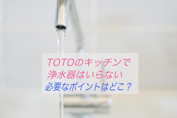 TOTOキッチンは浄水器いるか