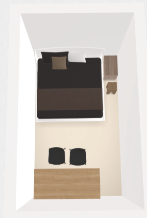 4畳半の和寝室をベッドで表現するとこんな感じ