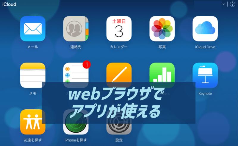 webブラウザでiCloudをつかってアプリを操作できるイメージ