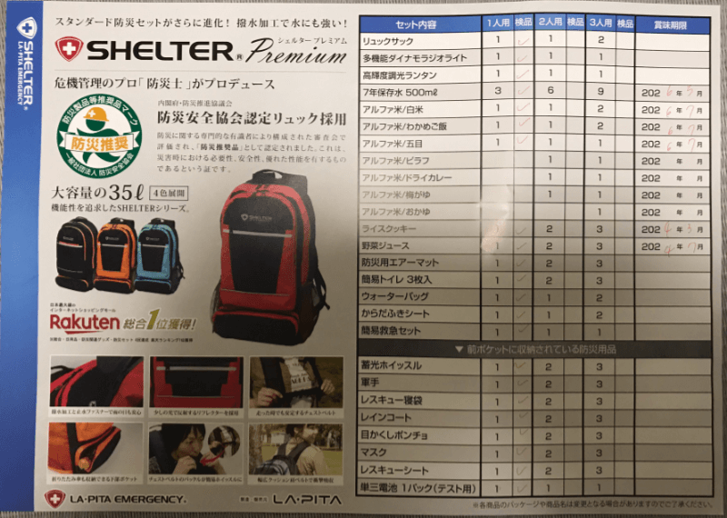 SHELTERの防災バッグの中身一覧表