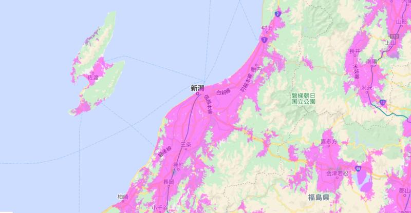 WiMax2+の新潟エリアは意外と広い