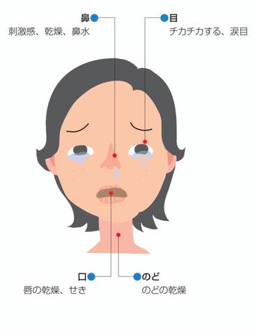 シックハウス症候群の症状、局所的な症状