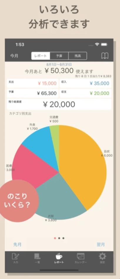 家計簿おとなのおこづかいちょう、グラフも見やすい
