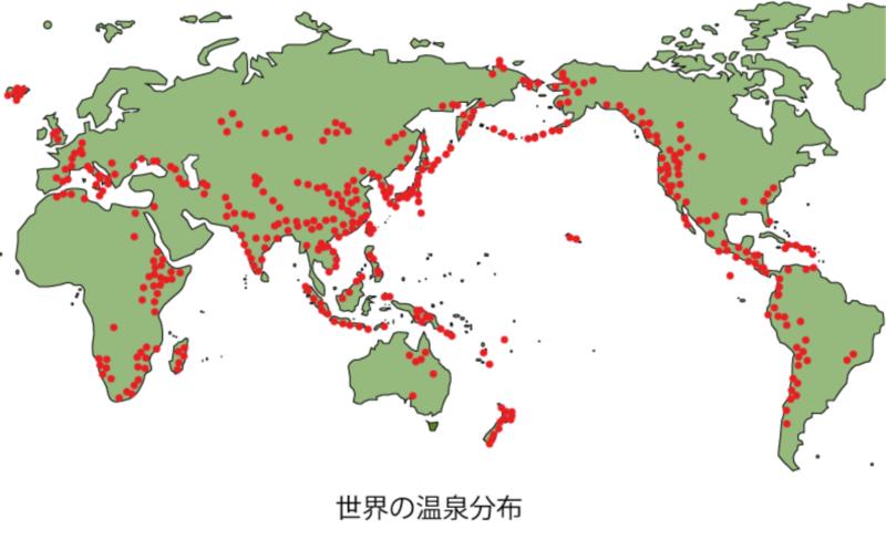 温泉分布と比較する、世界の地熱発電の状況