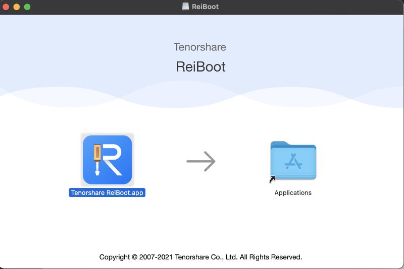 Macはインストールするときにアプリケーションファイルに入れる、TenorshareのReiBootを使ってみる