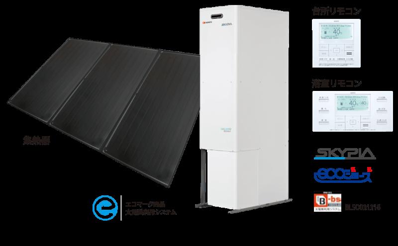 SKYPIA、NORITZの太陽熱利用ガスふろ給湯システム