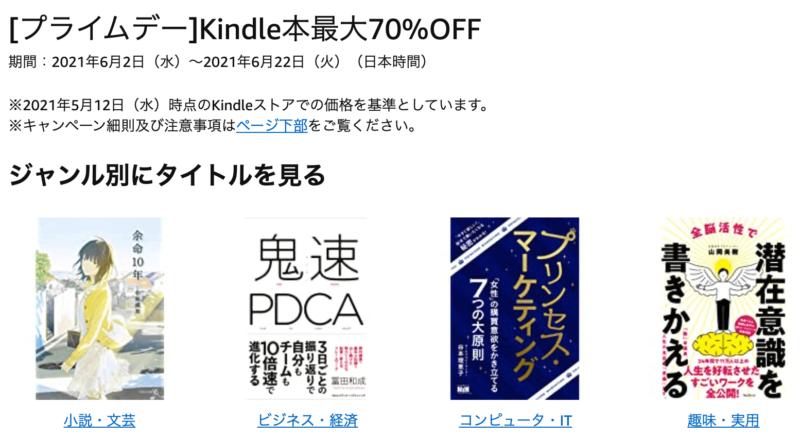 kindle70%オフセールの概要、Amazonプライムデー