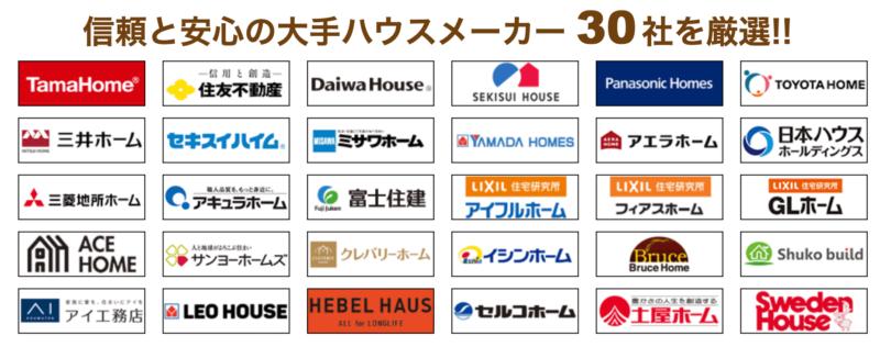 タウンライフが提携する大手ハウスメーカー30社厳選