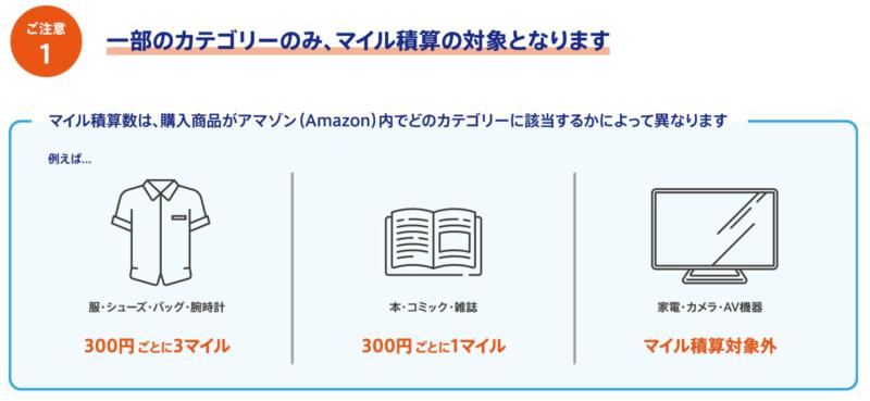 ANAマイレージモールでのAmazonマイル積算の対象