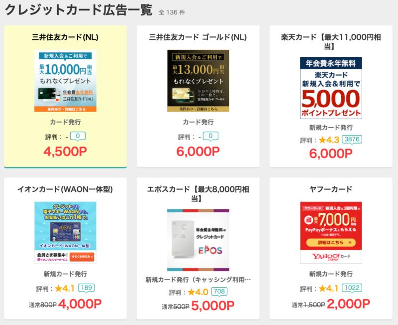クレジットカードの広告案件、モッピーの案件、ポイントサイトの攻略法
