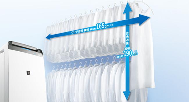 ワイド送風、静かな除湿機・衣類乾燥機