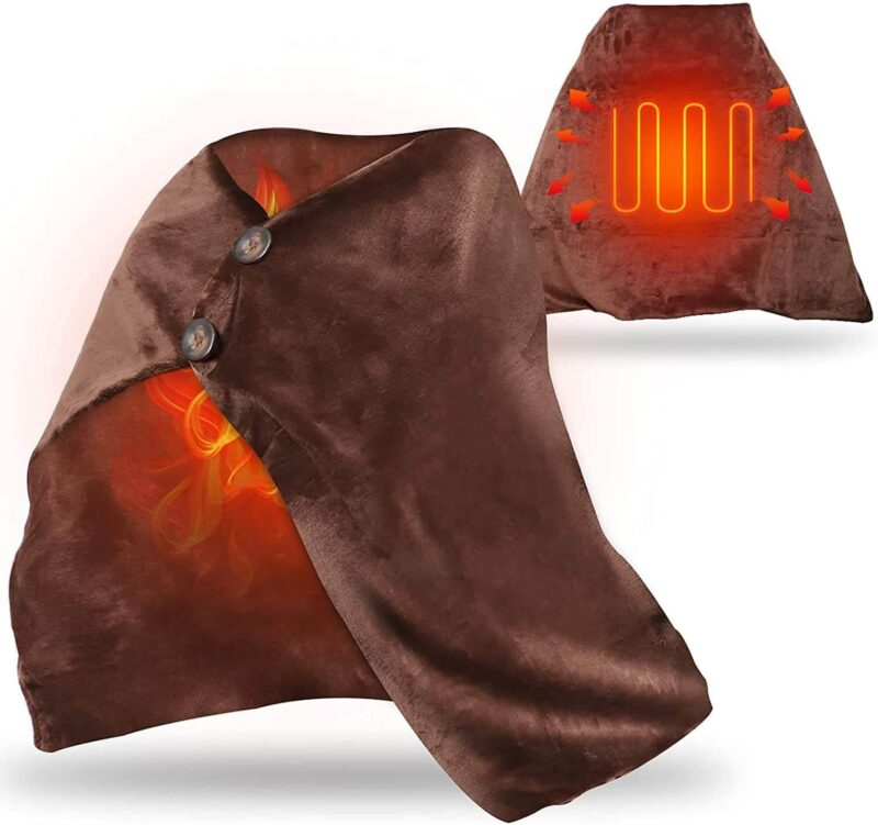膝掛け、肩掛けに使う暖房、パーソナルなサイズの暖房・足温器